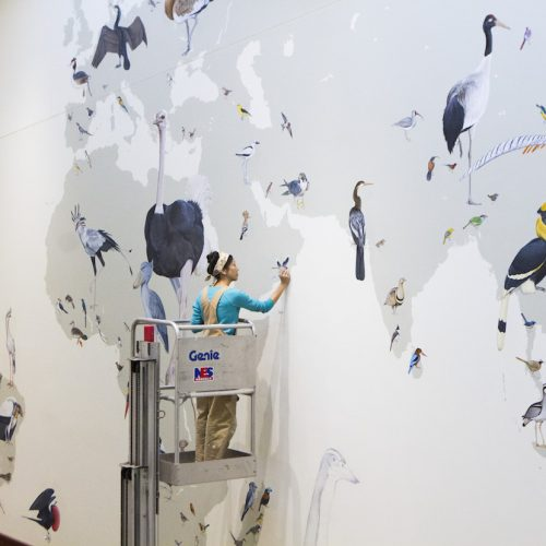 Jane Kim painting the Wall of Birds mural