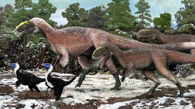 Ancient feathers (dino fuzz) covering Yutyrranus in the Cretaceous period